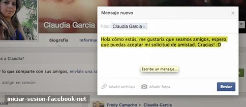 Mensaje privado a un amigo en Facebook