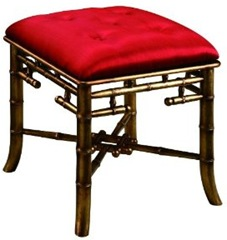 red silk faux bamboo bench