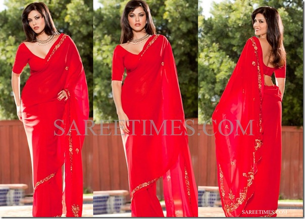 Sunny leone in embroidery saree