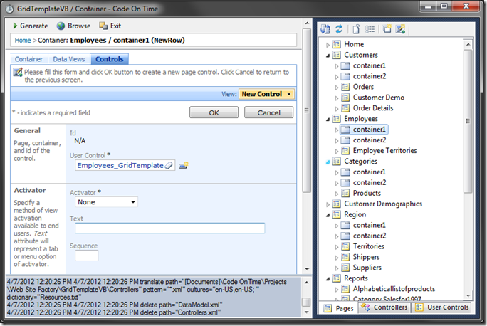 New Control 'Employees_GridTemplate' for Employees page in Code On Time web application designer