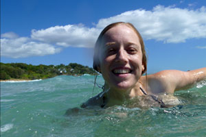 Bronwen swimming at Stradbroke Island