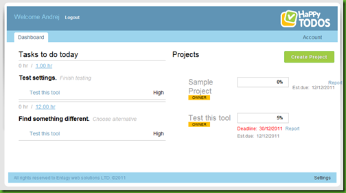 happytodos task and project manager dashboard