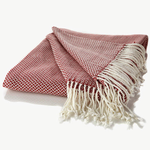 Herringbone Throw with Fringe Available in Red and Navy   HSN Price: $29.95