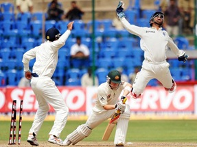 MS Dhoni leaping in air