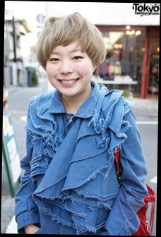 Deconstructed Denim, Converse & Short Blonde Hairstyle in Harajuku