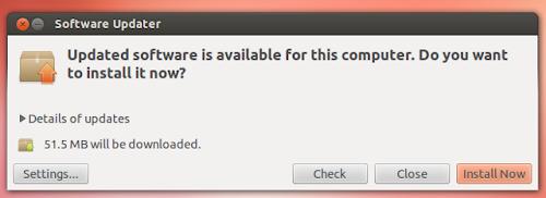 Ubuntu 12.10 nuovo gestore degli aggiornamenti / finestra in modalità minimale