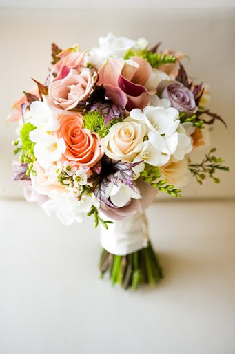 purple and tangerine wedding
