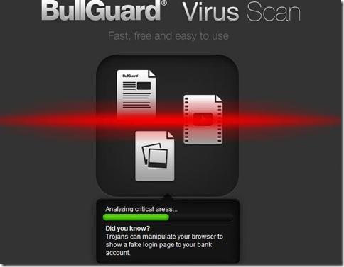 BullGuard Virus Scan scansione del PC in corso