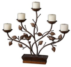birds and branches asian inspired fireplace candelabra