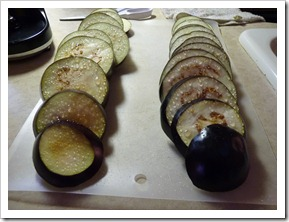 Eggplants getting ready to be cooked