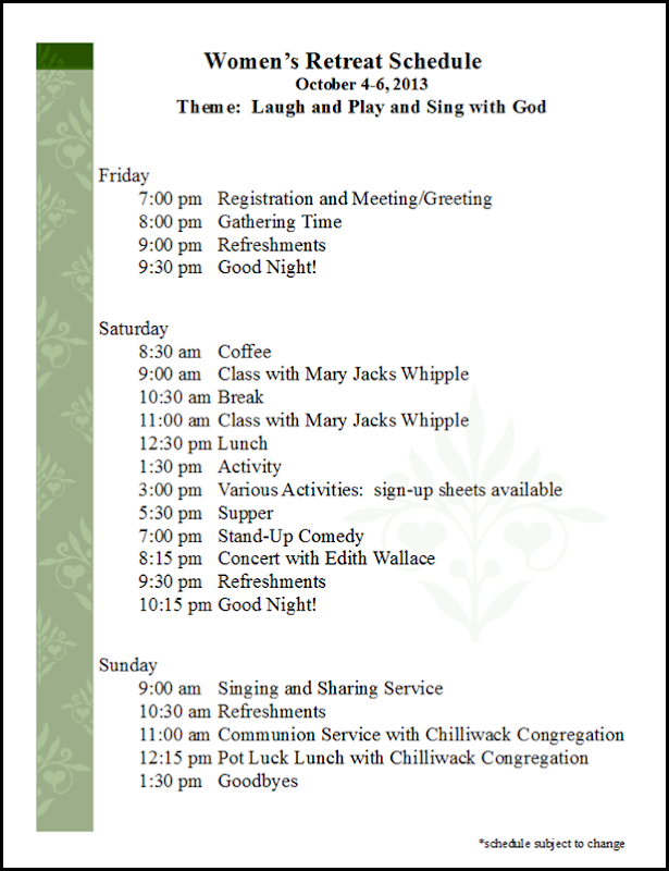 Women's Retreat Schedule
