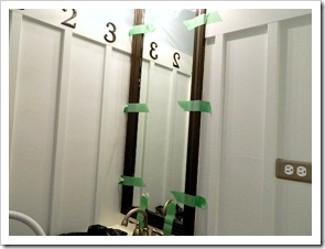 Powder Room Makeover Molding for Mirror 4