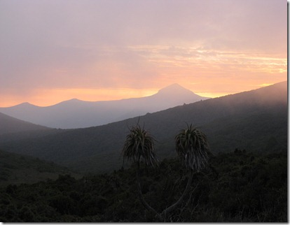 Sunset over Mount Wylly with small peaks and Leaning Tea Tree Saddle