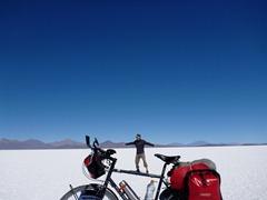 Bike surfing on the Salar de Uyuni.