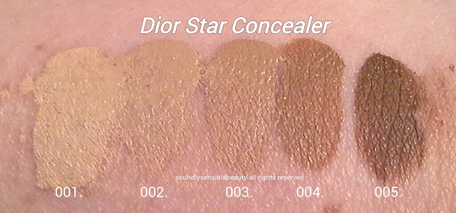 Dior Concealer Swatches of Shades 001 Ivory, 002 Beige, 003 Sand, 004 Honey, 005 Mocha