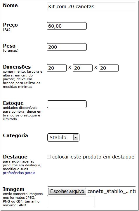 Dados do produto
