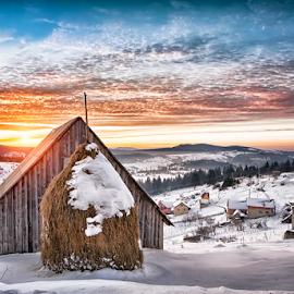 Sunset in Bosnia by Nermin Smajić - Buildings & Architecture Other Exteriors ( vlašić, winter, cold, sunset, orande, shack, hay, snow, bosnia,  )