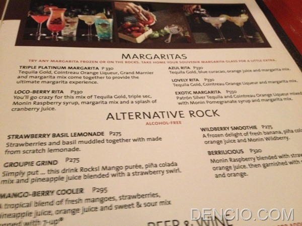 Hard Rock Cafe Dubai Drinks Menu