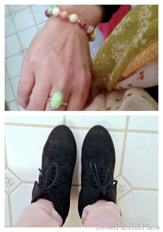 black ankle boots and mint ring