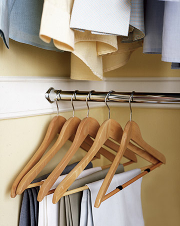 Keep pants from slipping off of hangers by attaching felt gliders that keep scratches off of wood floors.