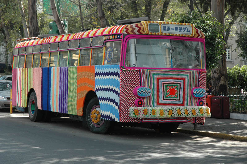 Bus yarn bombing