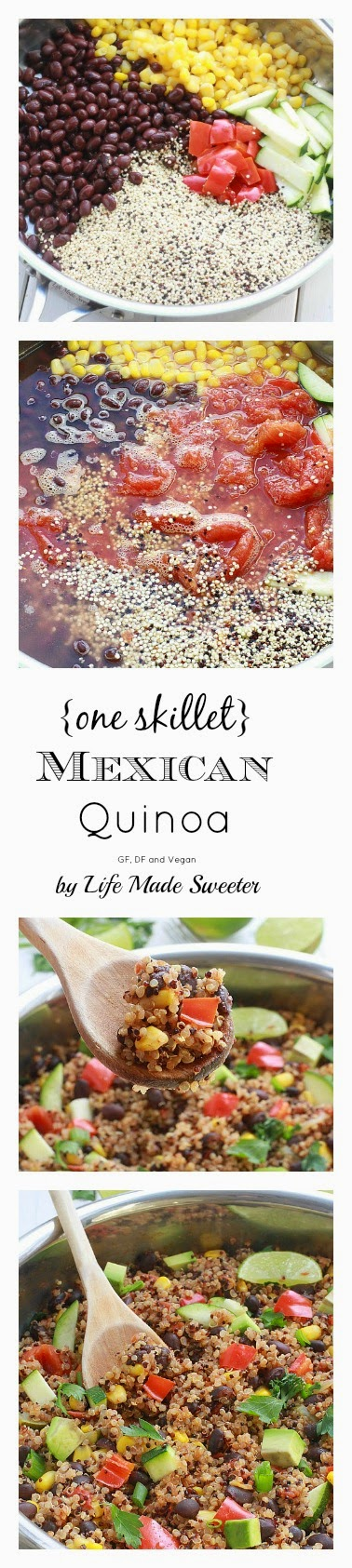{One Skillet} Mexican Quinoa - An easy and healthy meatless quinoa dish made all in one pan with your favorite Mexican flavors! GF, DF and Vegan by @LifeMadeSweeter.jpg