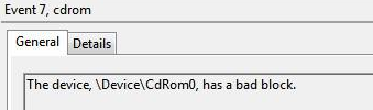The device, \Device\CDRom0\, has a bad block | On Techs \u0026 Security
