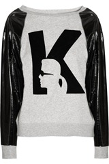 Karl Jerry PVC-sleeve cotton-jersey logo sweater