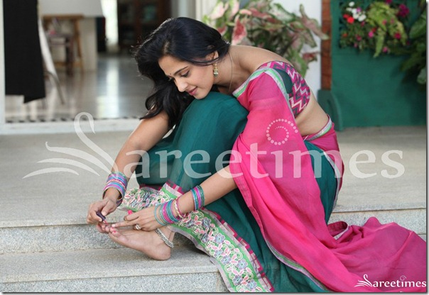 Anushka_Pink_Green_Half_Saree