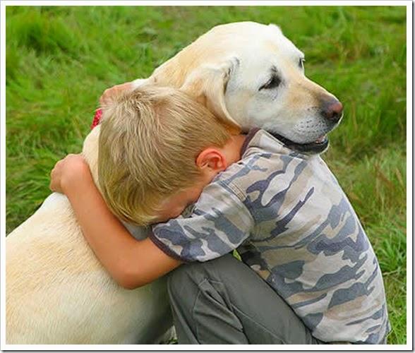 abraçando o cãozinho