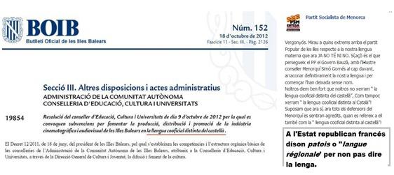 BOIB Balears repression lingüistica del PP