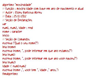 Estrutura de um aplicativo escrito em portugol no visualg