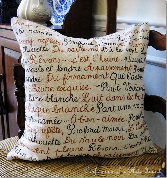 CONFESSIONS OF A PLATE ADDICT French Poetry Pillow and Envelope Closure Tutorial