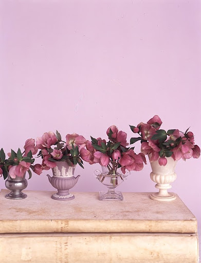 Urn vases (left to right): metal, ceramic, glass, and stone. (Martha Stewart Living)