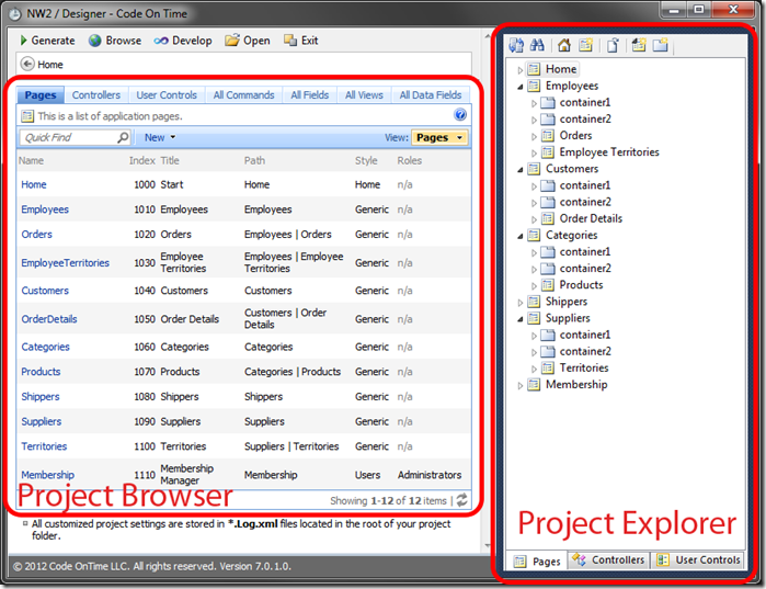 Project Designer window opened. On the left side is the Project Browser. The right side contains the Project Explorer.