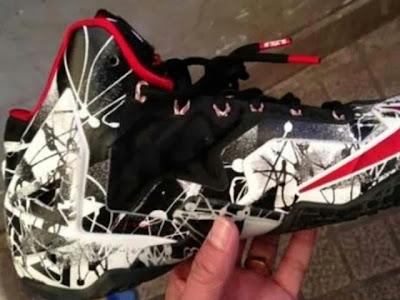 nike lebron 11 gr freegums graffiti 1 01 First Look at Nike LeBron XI Black / White / Red Graffiti