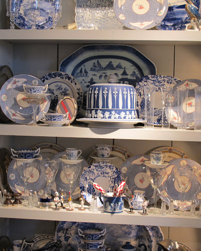 This collection of blue and white china from all era's is amazing.  I especially love the jasperware dome in the center.