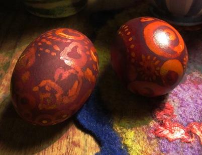Rotholz-Ei 5 und 6