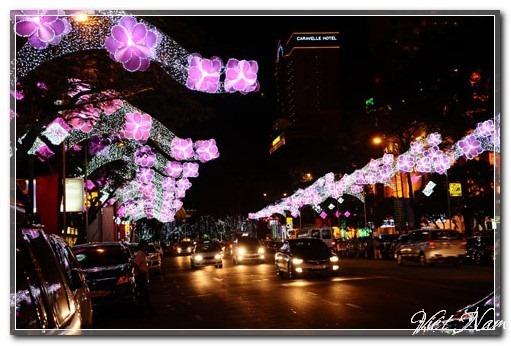 Đường phố Sài Gòn sáng rực đón năm mới