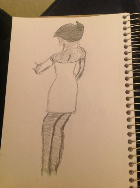 My sketch of woman from behind, inspired by Batman: Mystery of the Batwoman