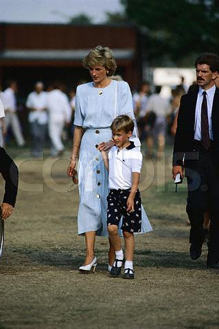 Princess Diana and Prince William attend the Cartier International Polo Match at Smith's Lawn in Windsor. July 23, 1989 Windsor, Berkshire, England, UK