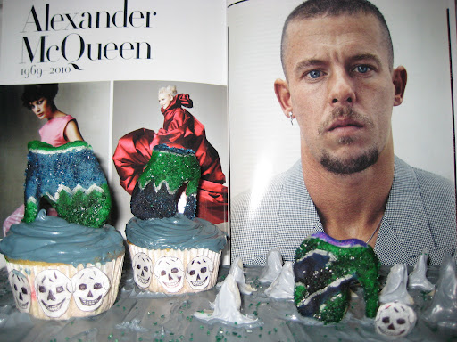 FASHION FORWARD: Julia Cunningham, DJ on SiriusXM U, pays tribute to the late fashionista, Alexander McQueen with cupcakes highlighting his signature armadillo shoes.
