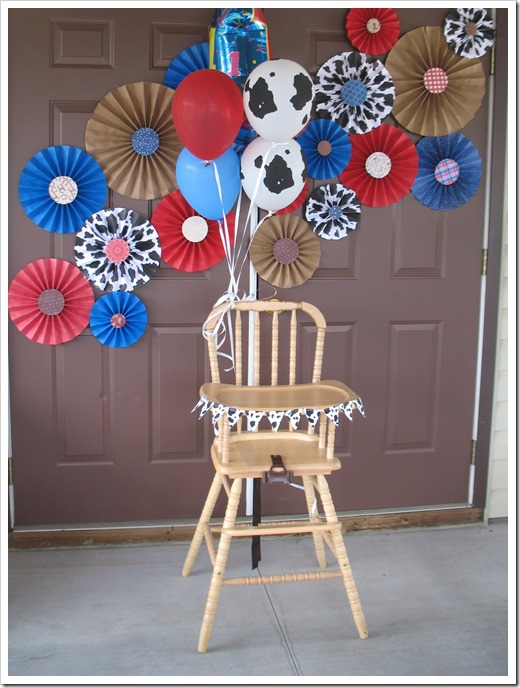 cowboy party paper fan decorations