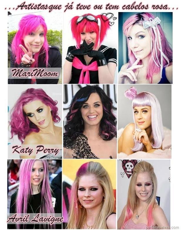 cabelos rosa marimoom, Katy Perry, Avril Lavigne-perfeita beleza
