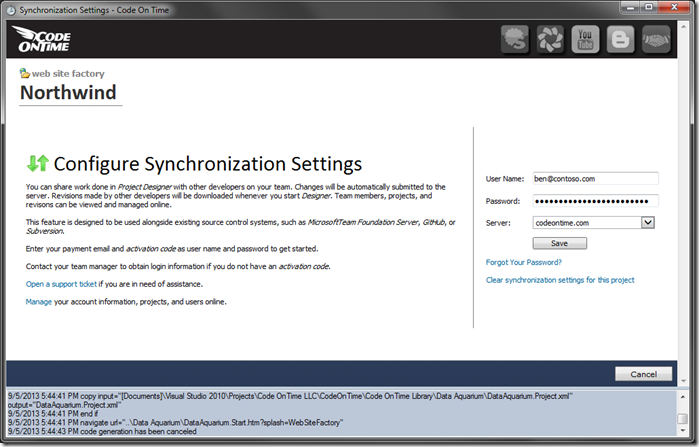 Configuring the project synchronization settings.