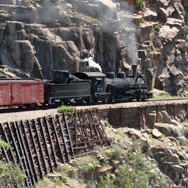 Durango & Silverton Narrow Gauge Railroad by Janice Burnett - Transportation Trains ( rocky mt. travel, train, narrow gauge, durango & silverton railroad )