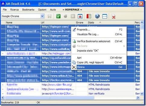 AM DeadLink eliminare preferiti e segnalibri rotti e duplicati