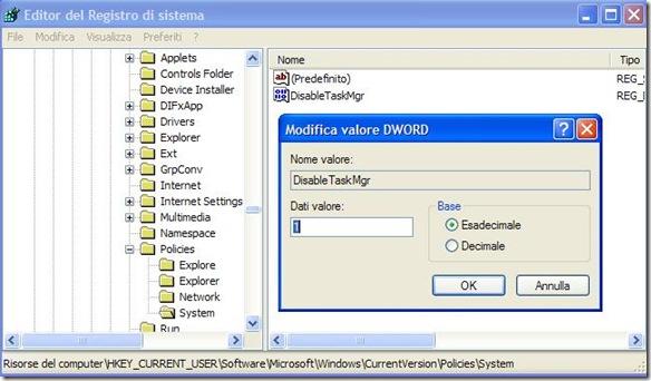 Abilitare Task Manager Windows dal registro di sistema