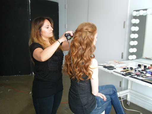 Sadah Saltzman, a hair stylist and makeup artist at NYC'c Salon AKS, was on hand to perfect our model's hair and makeup.