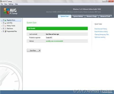 Tampilan AVG PC Tuneup
